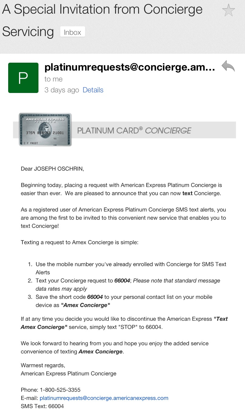 American Express Platinum Customer Service >> New American Express Platinum Benefit Text Concierge The
