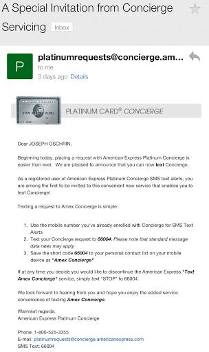 New American Express Platinum Benefit – Text Concierge   The