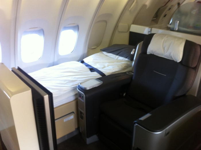 My Lufthansa first-class seat and bed!