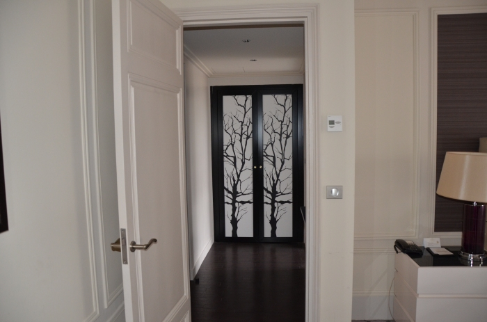 Entrance to Bathroom. Cool Closet Doors.