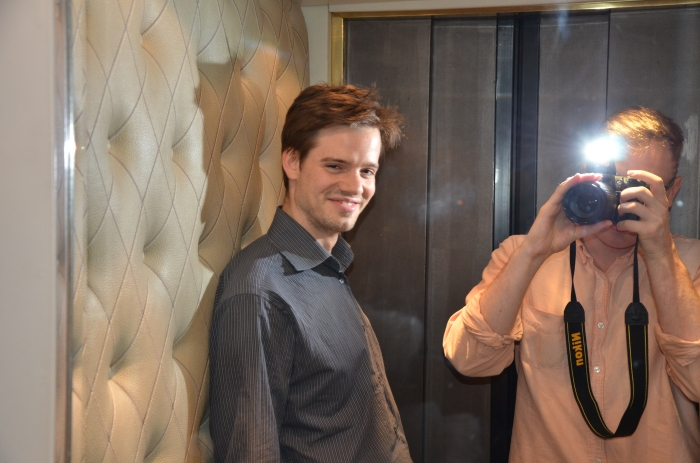 Mirrored, here - this elevator was tiny!