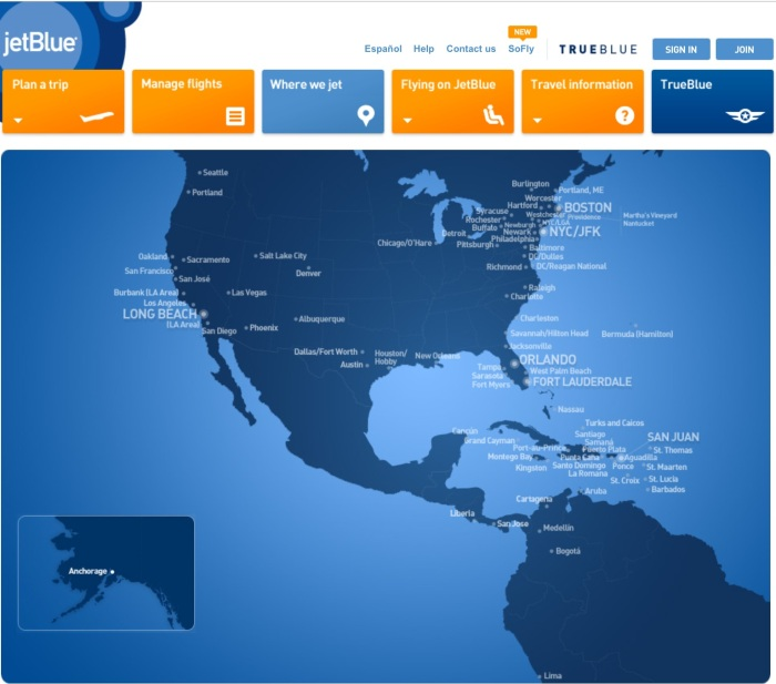 JetBlue's Route Map