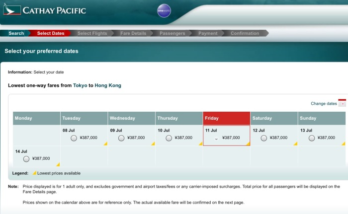 Price in Japanese Yen, per Cathay Pacific's website.