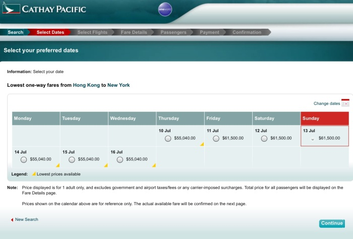 Price in Hong Kong Dollars, per Cathay Pacific's website.