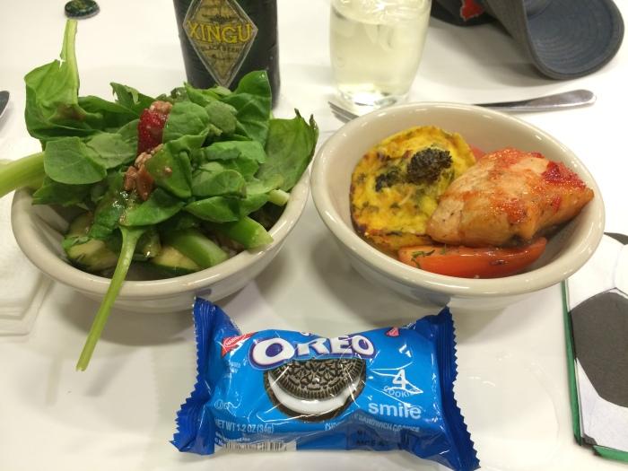 The salmon and quiche were especially delicious.