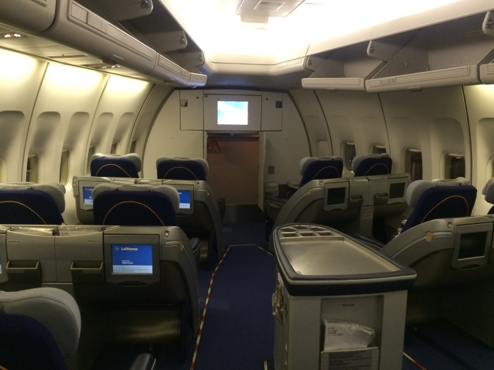 View of the front of the nose business-class cabin.