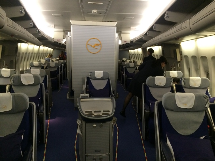 View of the rest of the nose business-class cabin.