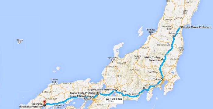 japan map trip