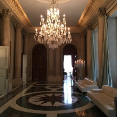 Lovely chandelier and hallway at the Park Hyatt